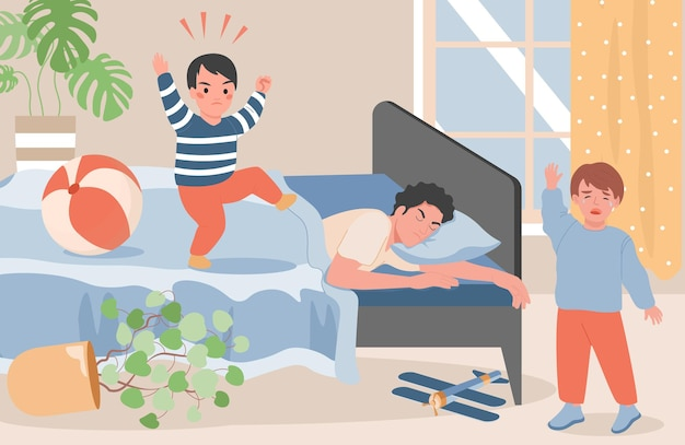 Young father lying in bed and trying to feel asleep illustration