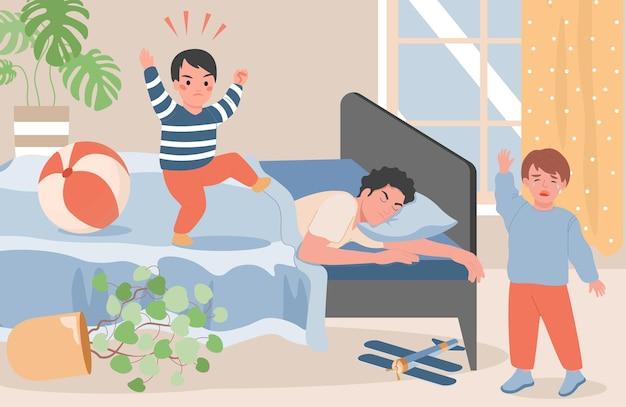 침대에 누워 잠자는 그림을 느끼려고하는 젊은 아버지