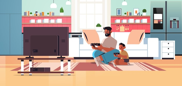 自宅で幼い息子と一緒にゲーム機でビデオゲームをプレイしている若い父親は、父親の概念のお父さんが彼の子供と一緒に時間を過ごしている完全な長さの水平ベクトル図