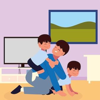 Молодой отец играет с детьми