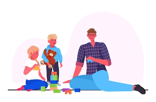 Young father playing with little children at home fatherhood parenting concept dad spending time with his kids horizontal full length vector illustration