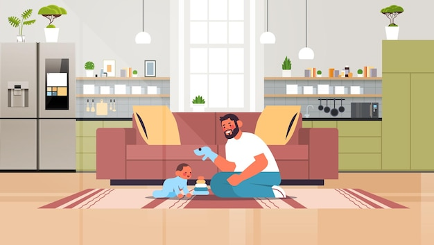 Young father playing with little son at home fatherhood parenting concept dad spending time with his kid modern kitchen interior horizontal full length vector illustration