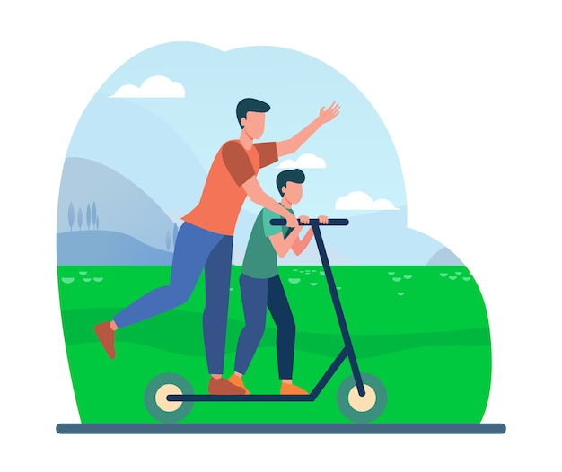 Young father riding on electric scooter with son. family, landscape, park flat vector illustration. activity and summer vacation