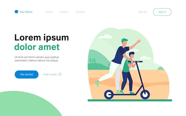 Young father riding on electric scooter with son landing page template