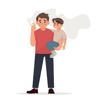 그의 아이 앞에서 담배를 피우는 젊은 아버지