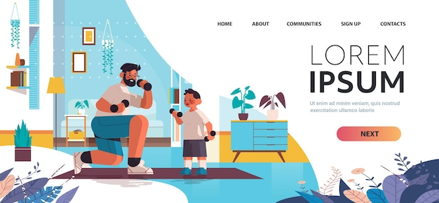 Young father and son doing physical exercises with dumbbells parenting fatherhood concept living room interior full length horizontal copy space vector illustration
