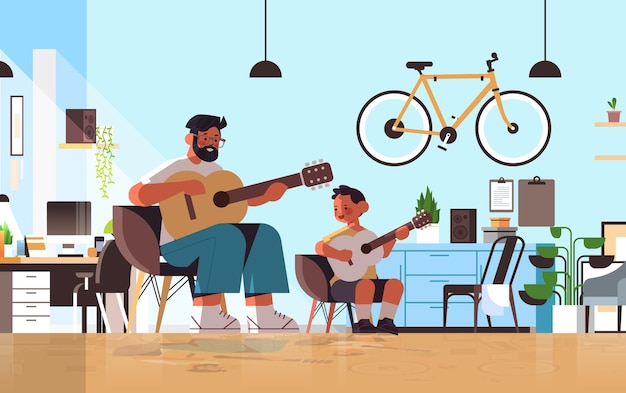 Young father teaching little son to play the guitar at home parenting fatherhood concept dad spending time with his kid living room interior full length horizontal vector illustration