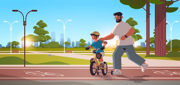 Young father teaching little son to ride bike in urban park parenting fatherhood concept dad spending time with his kid cityscape background horizontal full length vector illustration