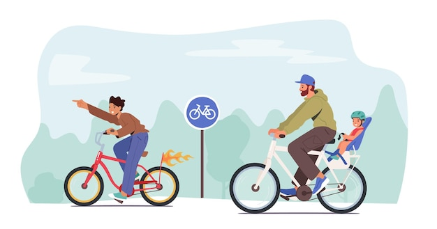 Young father, teenager son and little child characters riding bicycle