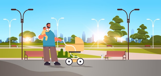 Young father walking outdoor with little baby son fatherhood parenting concept dad spending time with his kid cityscape background horizontal full length vector illustration