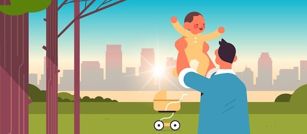 Young father walking with little son in urban park fatherhood concept dad spending time with his kid cityscape background horizontal portrait vector illustration