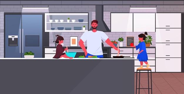 Молодой отец с маленькими дочерьми готовит еду отцовство концепция воспитания домашняя кухня интерьер горизонтальная векторная иллюстрация