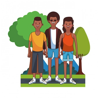 Young father with son and daugther at park vector illustration graphic design