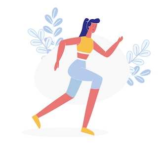 Young female athlete jogging flat vector character