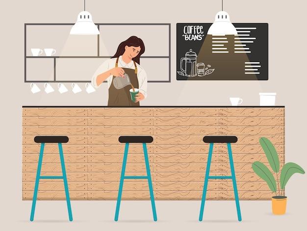 고객 일러스트레이션을 위해 커피를 만드는 젊은 여성 바리스타