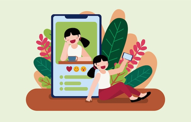 Young female blogger uses mobile phone to taking ov video call