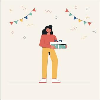 Молодой женский персонаж держит подарочную коробку.
