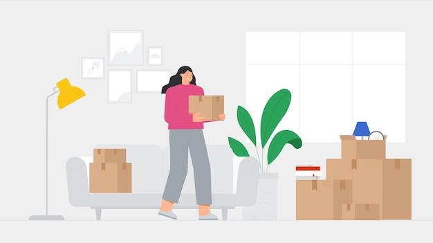 若い女性キャラクターは、家の内部に段ボール箱を保持しています。新しい家に移転するコンセプト、移転。