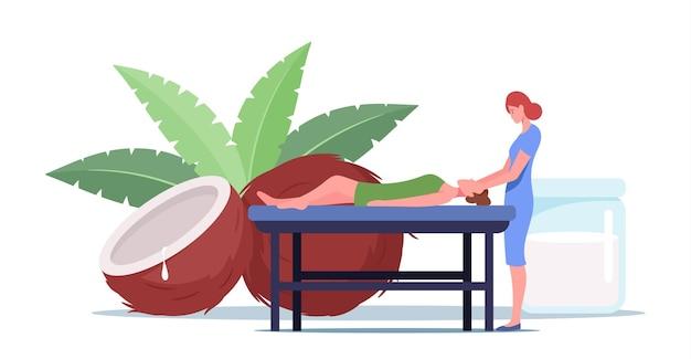 스파 센터에서 코코넛 오일로 이완 등 마사지를 받는 테이블에 누워 있는 젊은 여성 캐릭터