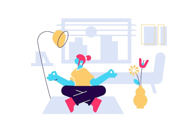 집에서 요가와 명상을 연습하는 젊은 여성 캐릭터 마음 챙김 현대 밀레 니얼 라이프 스타일