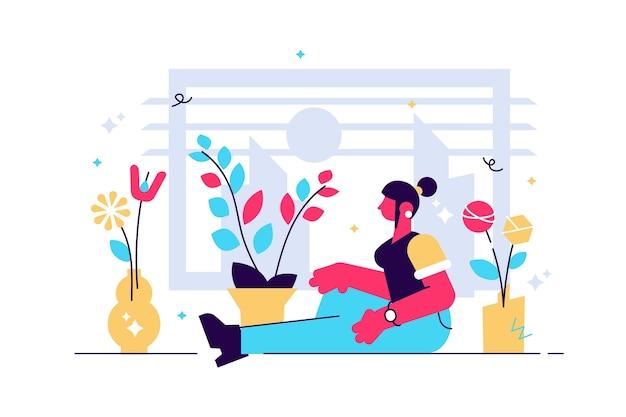 観葉植物の瞑想的なリラクゼーションに囲まれた窓のそばに座っている若い女性キャラクター