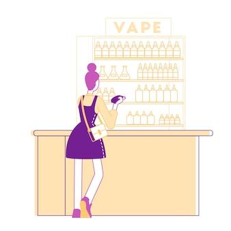 Vape shop의 카운터 데스크에서 캐주얼 드레싱 스탠드를 입고 젊은 여성 캐릭터