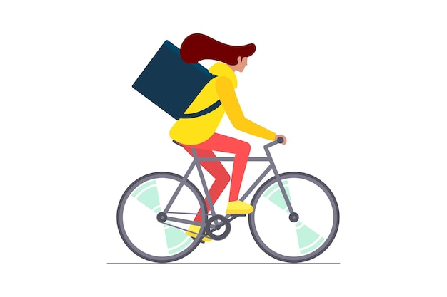 Young female courier with backpack riding bicycle carries fast cycling eco delivery order service