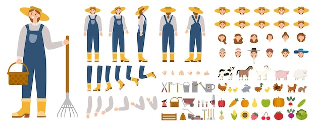 Young female farmer constructor set person working on a farm