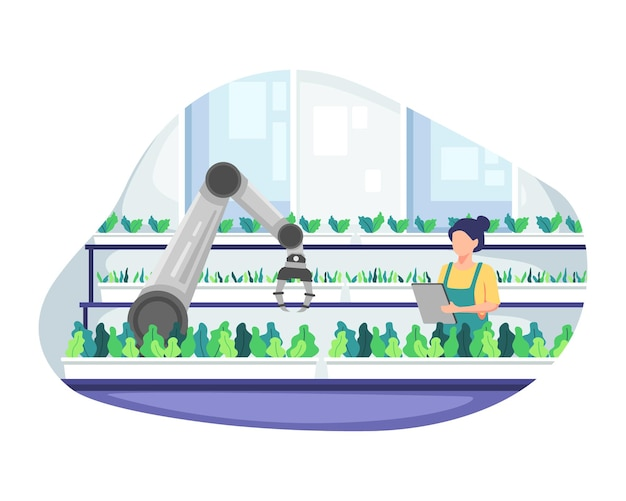 Young female farmer holding tablet checking vegetables. smart and sophisticated farming concept, managing a farm in greenhouse. modern farming with robot automation. vector illustration in flat style