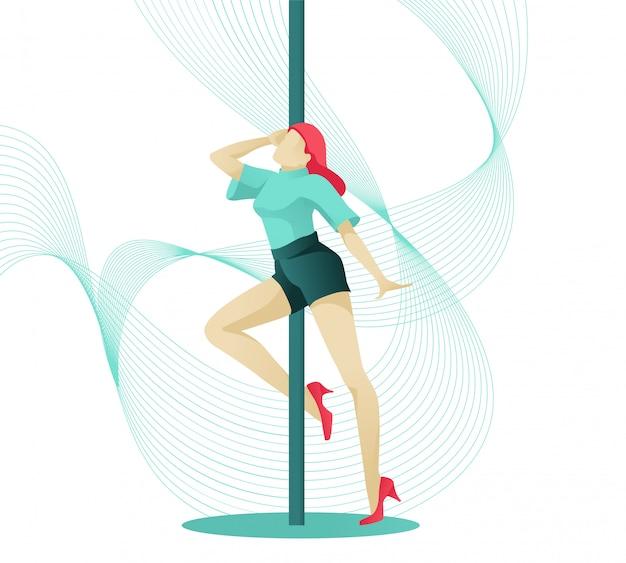 우아한 포즈에서 젊은 여성 극 댄서 캐릭터