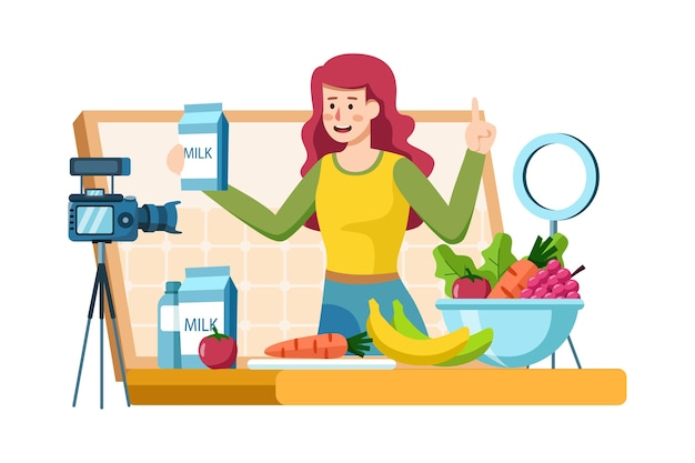 Young female recording video content on healthy food