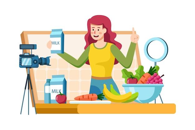 Молодая женщина записывает видеоконтент о здоровой пище
