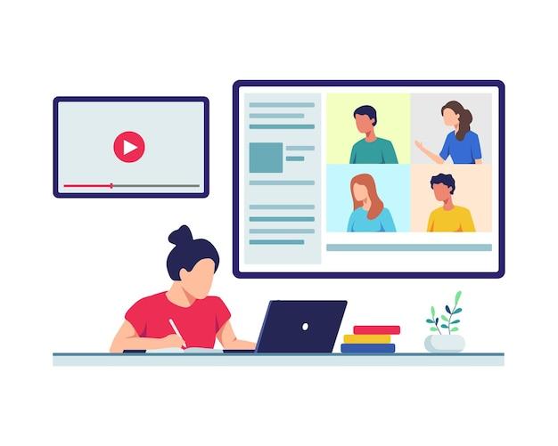ノートパソコンを持って座っている若い女子学生は、自宅からオンラインクラスを受講します。フラットスタイル