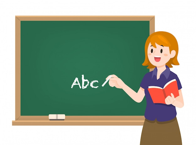 Young female teacher on lesson with chalkboard