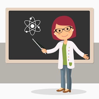 Young female teacher on science lesson at blackboard
