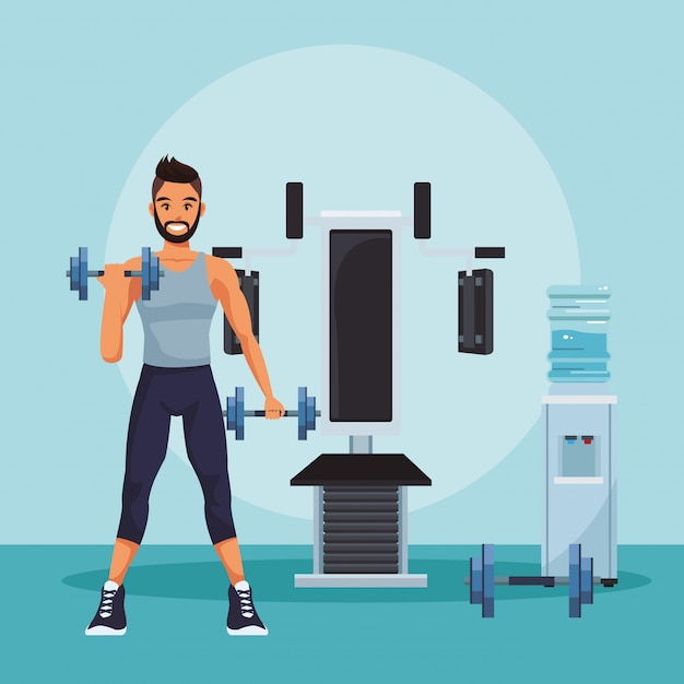 Exercise bike in gym interior with equipment vector illustration
