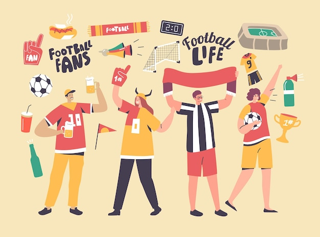 Young football supporter fans characters cheering with flag watching soccer match at stadium. friends group having excited fun on sport world championship concept. linear people vector illustration