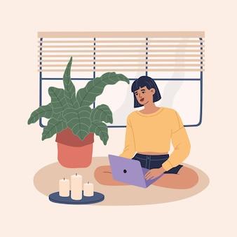 居心地の良いアパートのカーペットの上に座って、快適なワークスペースでラップトップのホームオフィスで働く若いフリーランサーの女性。リモートジョブと研究の概念。現代のトレンディなフラット漫画イラスト、孤立