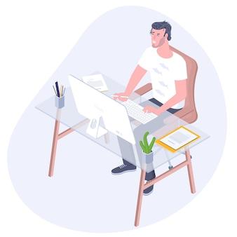 在宅勤務の若いフリーランサーフラットスタイルのコンセプト。オフィスでの勤務中にコンピューターモニターを見ている従業員。オンラインキャリア。コワーキングスペースのイラスト。