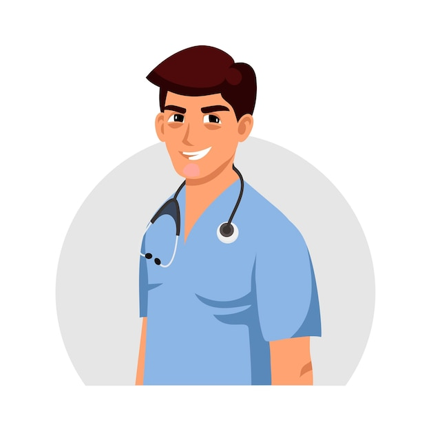 Young friendly toothy smiling doctor in uniform with stethoscope avatar design. medical specialist. practitioner, therapist, surgeon