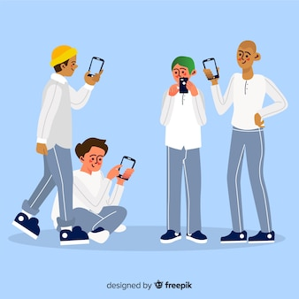 Young friends holding smartphones