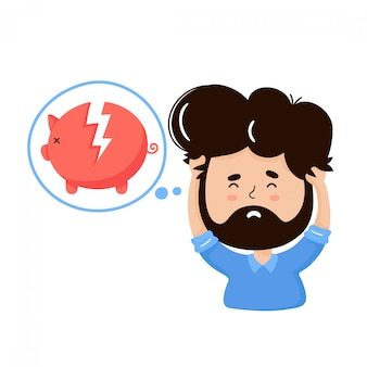 Young frustrated man think about bankruptcy.  cartoon character illustration icon design.isolated on white background. business concept of financial crisis and bankruptcy
