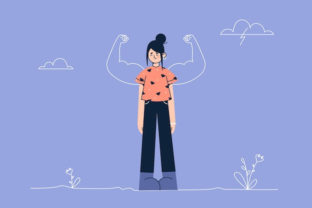 Young frustrated woman cartoon character standing looking down with strong biceps behind like powerful hero showing inner strength illustration