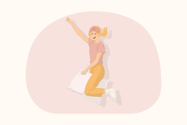 집에서 휴식을 취하는 젊고 재미있는 여성은 베개 개념에 비행 제스처를 합니다.