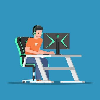 게임 장비가 있는 데스크탑 컴퓨터에서 게임을 하는 젊은 게이머. e-스포츠 또는 전자 스포츠 개념.