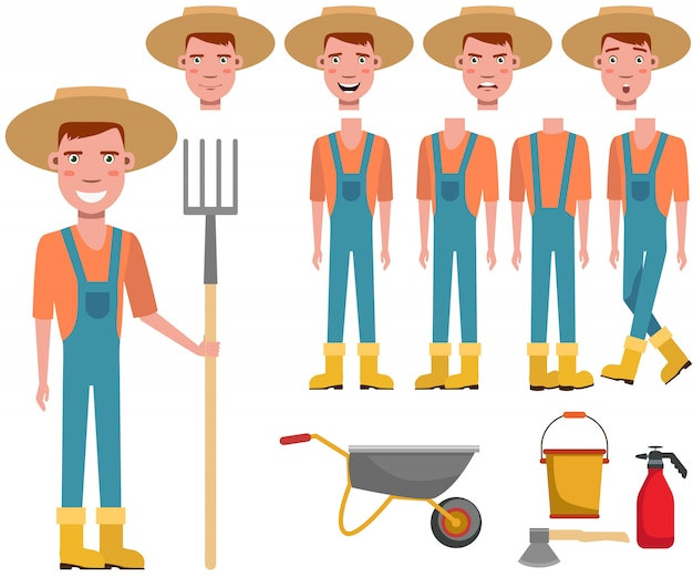 Young gardener in straw hat holding rake character set