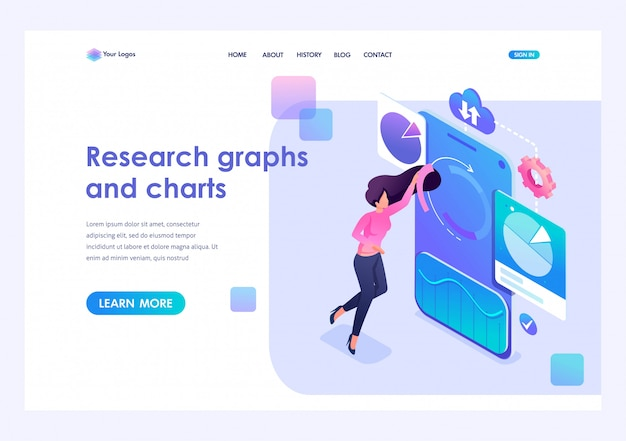 Young girl adjusts charts and graphs on your smartphone. data analysis concept. 3d isometric. landing page concepts and web design