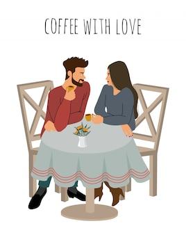 若い女の子と男はカフェでホットコーヒーを飲んでいます。