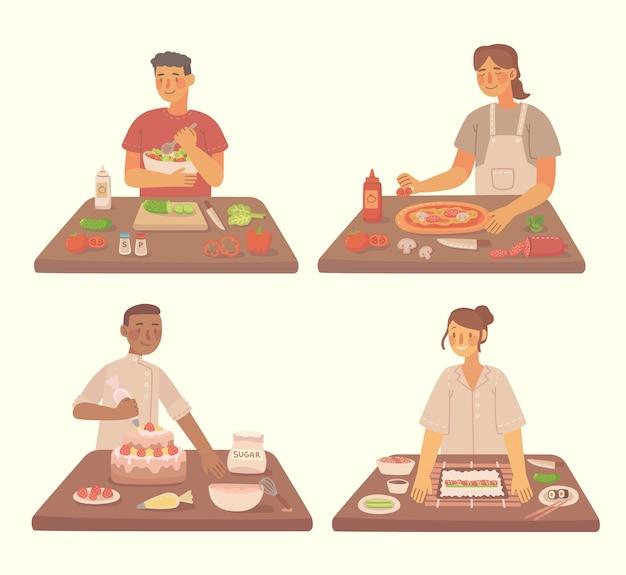 自宅のキッチンでピザ、ケーキ、サラダを調理する若い女の子と男の子。食材を使ったピザとサラダの調理。フラットスタイルのモダンなイラスト。