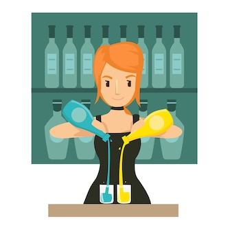 Young girl bartender mixing cocktail in th bar